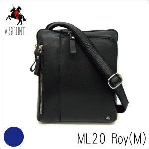 ML20ブラック /イヤホンコード穴付き コンパクトショルダーバッグRoy(M) 本革/A5/バッファローレザー/斜め掛け/メンズ/VISCONTI_|adhoc
