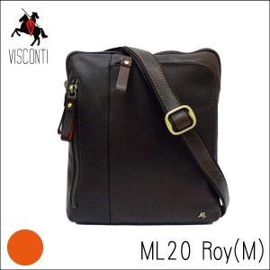 ML20ブラウン /イヤホンコード穴付き コンパクトショルダーバッグRoy(M) /本革/A5/バッファローレザー/斜め掛け/メンズ/VISCONTI|adhoc