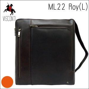 ML22ブラウン /イヤホンコード穴つき バッファローレザーショルダーバッグL /本革/A4/斜め掛け/メンズ/通学/VISCONTI|adhoc