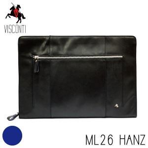 ML26ブラック / セカンドバッグ HANZ /本革/A4/バッファローレザー/クラッチバッグ/メンズ/VISCONTI|adhoc