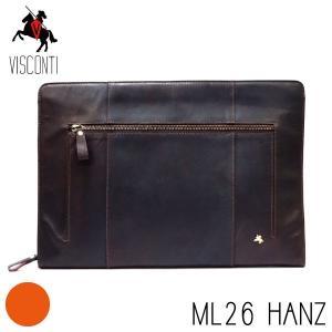 ML26ブラウン / セカンドバッグ HANZ /本革/A4/バッファローレザー/クラッチバッグ/メンズ/VISCONTI|adhoc