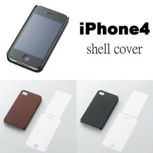 本体にぴったりフィットするiPhone4用シェルカバー(液晶保護フィルム付) レザー仕上げ/ELECOM adhoc