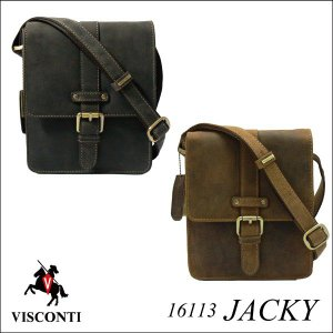 JACKY 16113  [VISCONTI] センターベルト ハーフフラップ 牛革ミニショルダーバッグ/本革/レザー/斜め掛け/ユニセックス/レディース/男女兼用|adhoc