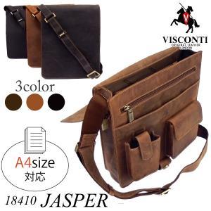 JASPER 18410 /本革/A4/フルフラップ レザー縦型メッセンジャーバッグ[VISCONTI]|adhoc