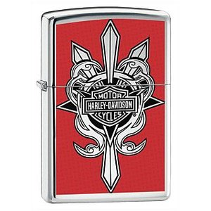 ZIPPO Harley-Davidson BLACK HIGH POLISH CHROME ZIPPO LIGHTER 24393|adhoc
