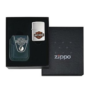 ZIPPO ギフトセット ハーレーダビッドソン本革ライターポーチ ブラック Harley Davidson Lighter Pouch - with loop gift set- HDP6|adhoc