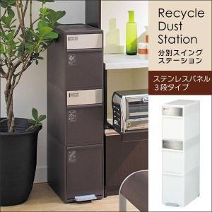 ゴミ箱 おしゃれ キッチン スリム 分別スイングステーション ステンレスパネル 3段 adhocplus