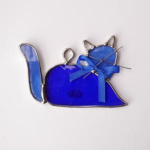 ガーデンピッグ ステンドグラス 猫 青 飾り物 ハンドメイド|adlife