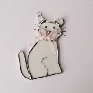 ガーデンピック ステンドグラス 猫 白 飾り物 ハンドメイド|adlife