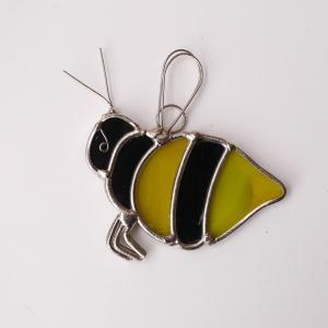 ガーデンピック ステンドグラス ミツバチ2 飾り物 ハンドメイド|adlife