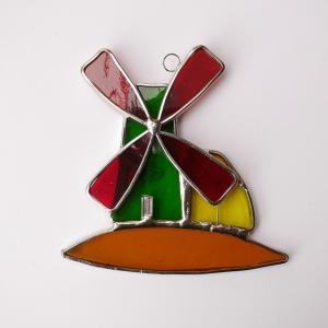 ガーデンピック ステンドグラス 風車2 飾り物 ハンドメイド|adlife