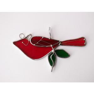 ガーデンピック ステンドグラス 小鳥 赤 飾り物 ハンドメイド|adlife