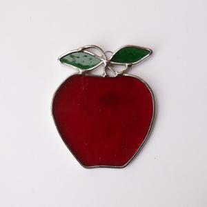 ガーデンピック ステンドグラス 赤いリンゴ 飾り物 ハンドメイド|adlife