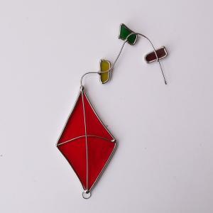 ガーデンピック ステンドグラス 洋凧 やや暗い赤 飾り物 ハンドメイド|adlife