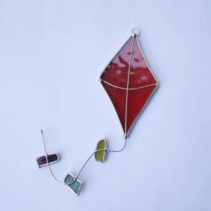 ガーデンピック ステンドグラス 洋凧 明るい赤 飾り物 ハンドメイド|adlife
