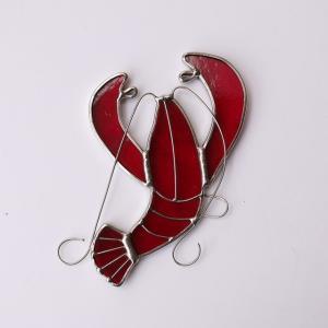 ガーデンピック ステンドグラス ザリガニ 飾り物 ハンドメイド|adlife