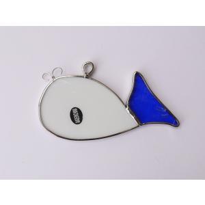 ガーデンピック ステンドグラス 鯨 飾り物 ハンドメイド|adlife