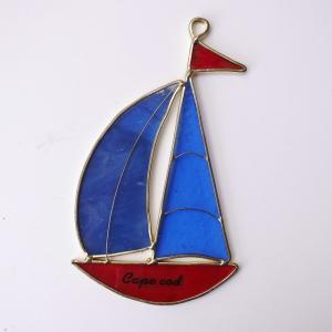 ガーデンピック ステンドグラス 青い帆船 帆2枚 飾り物 ハンドメイド|adlife