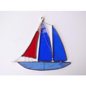 ガーデンピック ステンドグラス 青い帆船 帆3枚 飾り物 ハンドメイド|adlife