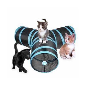 Lauva 猫3通 トンネルペット用の おもちゃ トンネル ペット玩具, 猫トンネル ペット用品おもちゃ キャットトンネル 折りたたみ式3つのトンネ|adnext
