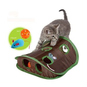 猫 おもちゃ Treat Me ペット用品 (改良版!) 猫が喜ぶおもちゃセット 高品質 折り畳み猫テントセット 猫ハンモック ストレス解消 健康促|adnext