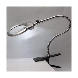 Icehan スタンドルーペ 拡大鏡 LEDライト付 クリップ対応 LEDライトの拡大鏡 2.5X 5倍の倍率 スタンドルーペ ルーペ拡大鏡 拡大ル|adnext