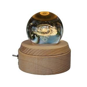 オルゴール 月のランプ 宇宙 クリスタルボール 誕生日プレゼント 間接照明 ベッドサイドランプ LEDライト USB充電 おしゃれ 木製 手作り 結|adnext