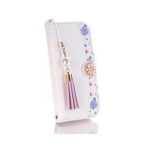 Huawei P20 Lite ケース au HWV32 専用 ケース ファーウェイp10ライト 手帳型 ケース かわいい花柄 可愛いストラップ付き adnext