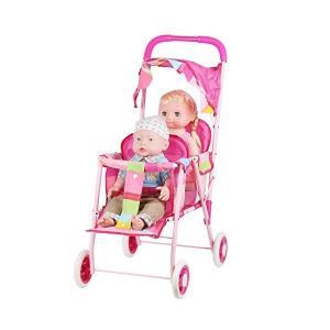 人形用 ベビーカー バギー お世話パーツ かわいい 乳母車 おもちゃ 鉄の枠 折り畳み式 楽しく二人乗せ|adnext