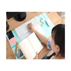 デスクマット 可愛いマウスパッド 大きい机マット エグゼクティブタイプ 便利で 防水 収納 エレガント かっこいい ブルー DS+PUV 70*32|adnext