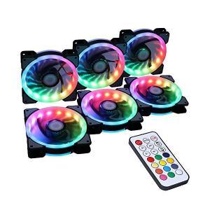 DS ワイヤレスRGB LED 120 mmケースファンコントローラ付きPCケース、CPUクーラー放熱器システム(6個RGBファン、RFリモートコン|adnext