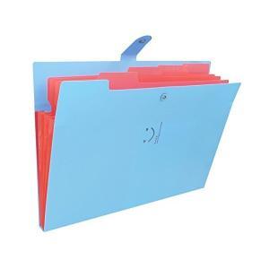 個別ファイルフォルダA4 5ポケット ドキュメントファイル じゃばら アコーディオン 書類 収納 かわいい笑顔模様 スナップ式 防水 (青+赤)|adnext
