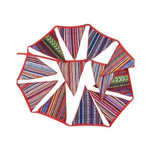 ガーランドフラッグ キャンプ テントフラッグ ボヘミアン 民族柄デコフラッグ 飾り 3.3m|adnext