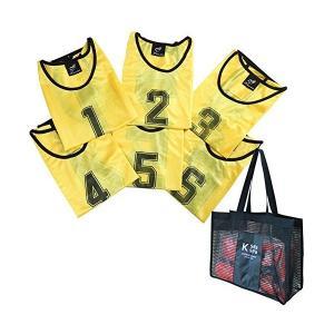 K sera sera ナンバー ビブス 6枚セット 12枚セット 「持ち運び便利な 収納バッグ 付き」 フットサル バスケ サッカー (イエロー6|adnext