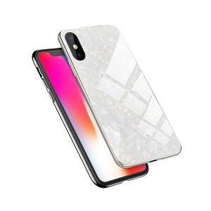 Shanenshop iPhone XR(6.1インチ) ガラス ケース カバー 背面保護 3D強化ガラス 貝殻柄 鏡面効果 背面ガラス+ソフトtp adnext