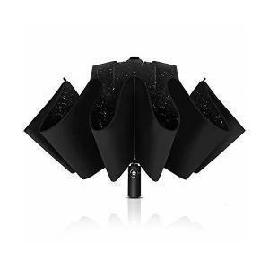 Wsky 折りたたみ傘 逆折り式 自動開閉 10本骨 逆さ傘 風に強い 梅雨対策 晴雨兼用 おりたたみ傘 メンズ 収納ポーチ付き|adnext