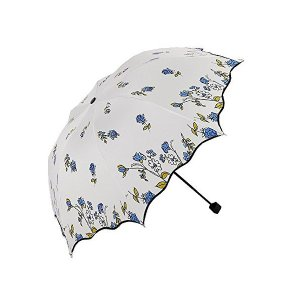 Royanney 日傘 折りたたみ 晴雨兼用 折りたたみ日傘 uvカット 遮光 サンバリア 一級遮光 花柄 日傘 傘 黒い裏地 ブルー|adnext