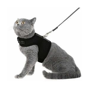 PETBEMO 猫 ハーネス リードセット 胸あて 抜けにくい m 反射テープ メッシュ素材 猫用 (m)|adnext