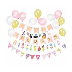 Easy Joy  100日お祝い飾り付けセット ピンク ホームパーティー 受付飾り 装飾 写真背景 ウオールデコレーション|adnext
