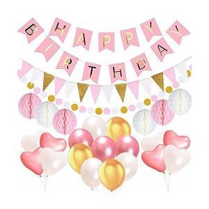 IPALMAY  1歳 誕生日 飾り付け バルーン HAPPYBIRTHDAY ガーランド ハニカムボール フラッグガーランド セット ハート 風船|adnext