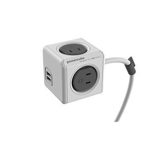 POWER CUBE キューブ型電源 4個口 USBポート2個口 延長コード3m付き グレー 4494/JPEUPC|adnext
