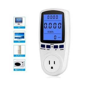 改良版 ワットモニター ワットメーター 電気モニター 電気代/消費電力 節電 ワット電圧/周波数/時間範囲などを表示 バックライト|adnext