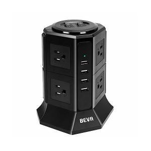 タワー式電源タップBEVA 2層縦コンセント 8AC充電口(110-125V)+4USBポート(最大4.5A/5V)雷ガード 過負荷保護 省エネ 延|adnext