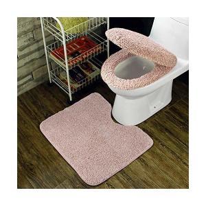 トイレ 3点セット 便座カバー U型O型トイレ兼用フタカバー ト 足元マット フワフワ 防寒 吸水 速乾 ライトピンク|adnext
