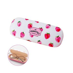 ハードメガネケース、素敵なイチゴプリントメガネボックス、ピンクのクリーニングクロス、女子学生レディース|adnext
