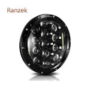 Ranzek 7インチ75WラウンドデイメーカーLEDプロジェクターヘッドライトウォータープルーフハーレーダビッドソンオートバイ&ジープラングラーL|adnext