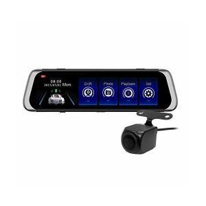 10インチフルスクリーンモニター搭載 ルームミラー型ドライブレコーダー + 防水バックカメラセット タッチパネル操作 フルHD画質 ループ録画 前後|adnext