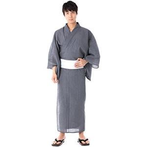 [キョウエツ] 浴衣セット しじら 綿麻 C 新サイズ 4点セット (浴衣、角帯、下駄、腰紐) メン...