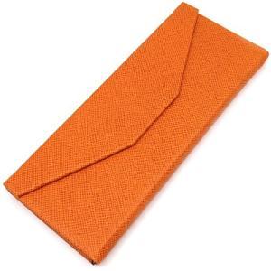 三角 折りたたみ メガネ ケース シンプル 収納 便利 コンパクト (レザー調 オレンジ)