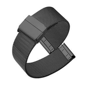 Reinherz 時計バンド 腕時計用ベルト 防水 ステンレス鋼 光沢 0.6網目スライド式 バック...